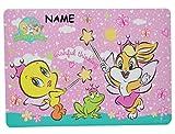 Tweety und Frosch - Unterlage - Baby Looney Tunes - 43 cm * 29 cm incl. Name - Tischunterlage / Platzdeckchen / Malunterlage / Knetunterlage / Eßunterlage - Bugs Bunny Taz Tiere - für Kinder Jungen Mädchen / kleine Schreibunterlage