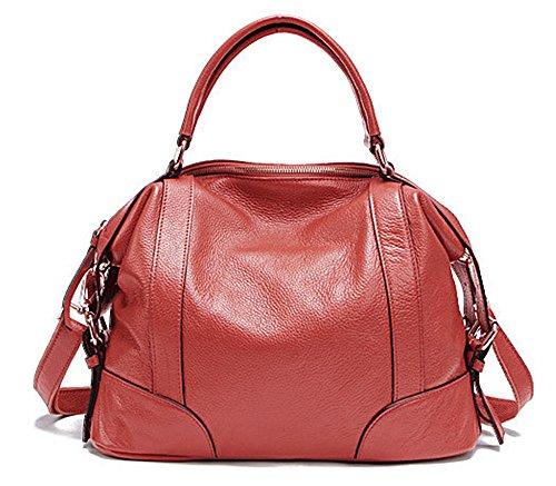 Xinmaoyuan Damen Handtaschen Damen Handtasche aus Rindsleder Schulter Messenger Bag Fashion Handtaschen aus Leder Rot
