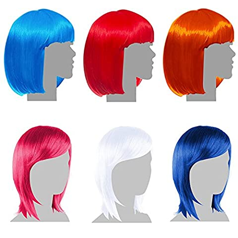 6 Pack Party Wigs - Hen Party Favors, Supplies, and Decorations - Bachelorette Party