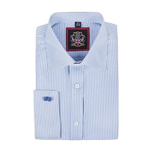 Janeo Men's Shirts - Camicia classiche - A righe - Maniche lunghe - Uomo, Sky Blue (Double Cuff), 56 cm
