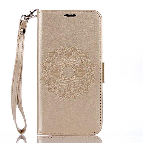 Motorola Moto G4 / G4 Plus Hülle, Chreey Prägung [Mandala] [Indische Sonnen] Design Ledertasche Hinter Magnetverschluss Flip Case [Golden] + Brieftasche Kartenschlitz Ständer