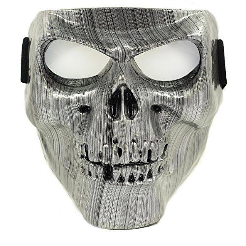 Vhccirt Motorrad Schutzmaske mit Polarisierte Brillen Skibrille Maske Halloween Totenkopf Maske, Herren, Silver Brushed Line (Ysl Brillen)