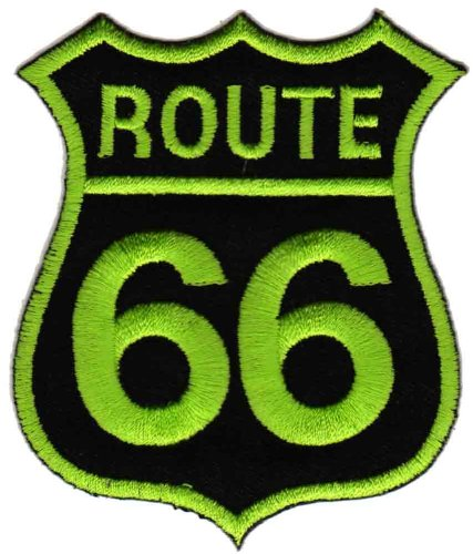 Route 66 Grün Aufnäher Bügelbild Patch Applikation