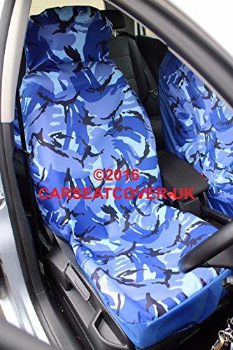 Carseatcover-UK, Coprisedile Resistente e Impermeabile, Nero, per sedili Anteriori, 2 Pezzi - Blu
