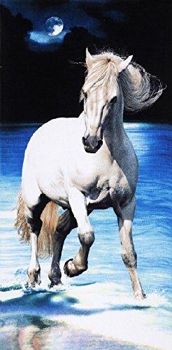 White Ocean Pferd Velours 30x 60Badetuch/Strandtuch -