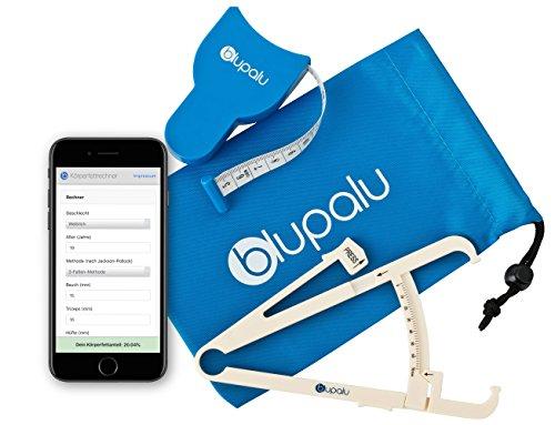 blupalu I Körperfettmessgerät I Körperfettzange I Caliper mit Körper-Massband und Tasche zum Messen von Körperfett I mit Web-App Körperfett-Rechner
