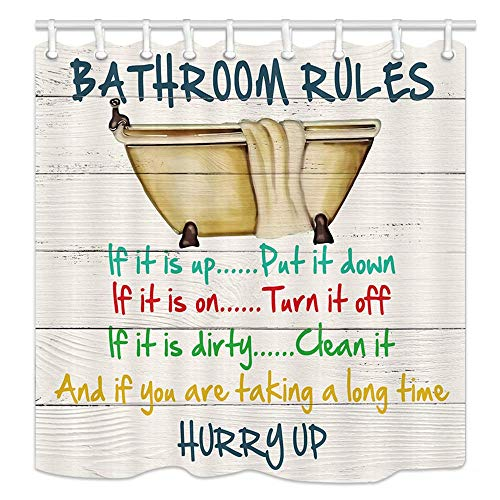 EdCott Inspirational Inspirational Funny Quotes Bathroom Rules Rustic Cabin Bathtub Pattern Decoration Room Decoration Home Easy to Clean Shower Curtain for Bathroom Hotel Curtains