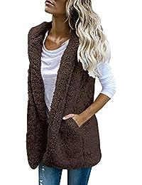 8475495b80727 SOMESUN Femme Mode Faux Fur Manteaux sans Manche À Capuchon Hiver Chaud  Confortable Doux Couleur Unie