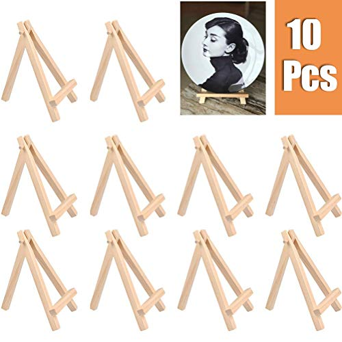 YOTINO 10 Pcs Mini Wooden Display Easel Stand Small Art Desktop Easel Stand 12.5 x 7cm