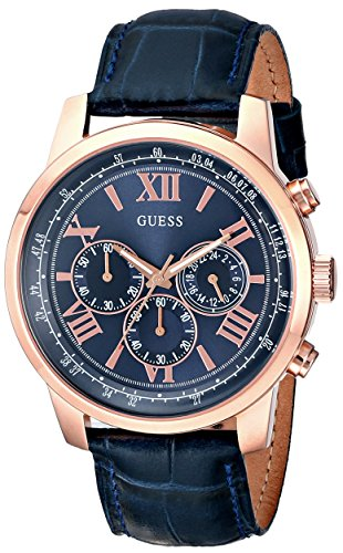 GUESS U0380G5 GENTS BLUE CALFSKIN 45MM STAINLESS STEEL CASE CHRONOGRAPH WATCH