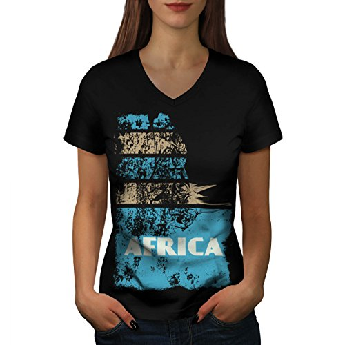 Dschungel Wüste Cool Afrika Land Leben Damen M V-Ausschnitt T-shirt | Wellcoda (T-shirt Süd-afrika Flagge)