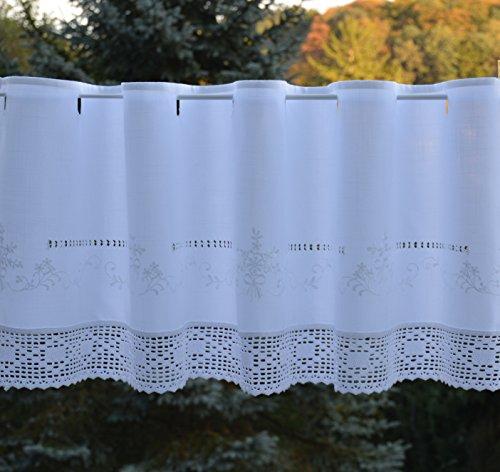 Scheibengardine mit gehäkelter Spitze Bistrogardine Häkelkante Kurzstore Ösen Landhaus Spitze Shabby ca. 45 x 150 cm Weiß -