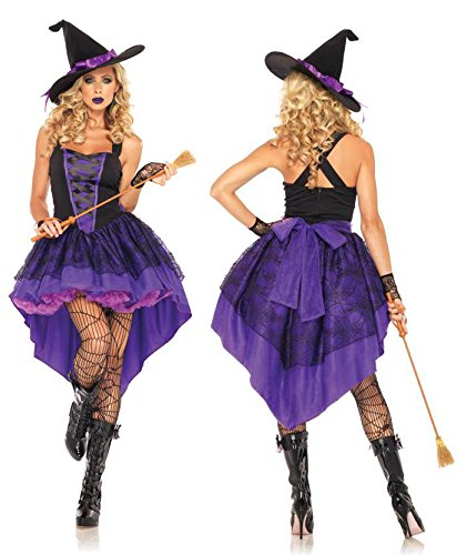 Ecommerce Trade Ltd Purple Potion Deluxe Hexe Kostüm Outfit Halloween Party sexy Damen Damen (36/38)