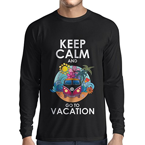 N4442L Camiseta de manga larga Keep Calm and Go to Vacation (Small Negro Multicolor)