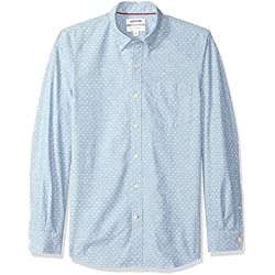 Marca Amazon - Goodthreads - Camisa de manga larga de corte entallado de cambray para hombre, diseño de lunares, Azul (Light Blue/White Dot), US L (EU L)