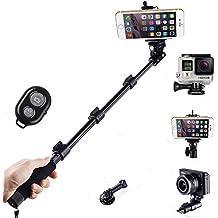 JVJ® (máx: 50 Pulgadas)Selfie extensible impermeable 360 °telescópica Handheld Monopod Autofoto bastón poste con el botón del obturador a distancia Bluetooth para el iPhone 6 Plus 5 5S 4S 4 Samsung Galaxy S3 S4 S5 Nota 3 2 y otros teléfonos inteligentes Android y Montaje de trípode para GoPro héroe 4 3 + 3 2 1 cámara digital y videocámara
