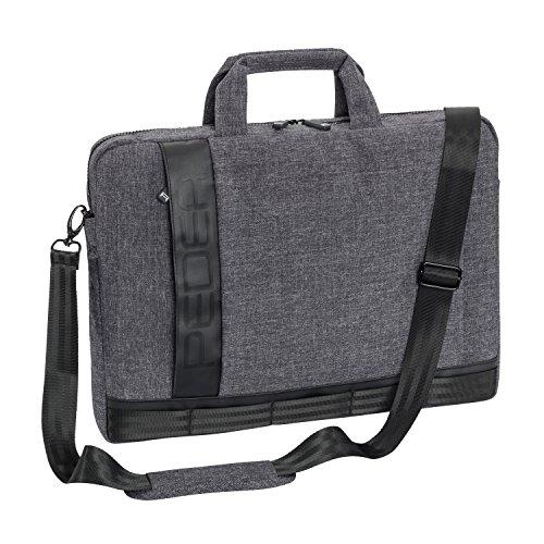 """PEDEA Notebooktasche """"Fancy"""" für 17,3 Zoll (43,9cm) mit Zubehörfach und Schultergurt, grau"""