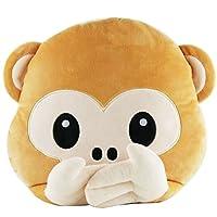 Demarkt Emoji Emoticon Smiley Monkey Round Cushion Pillow Stuffed Plush Soft Toy 32x32x13cm