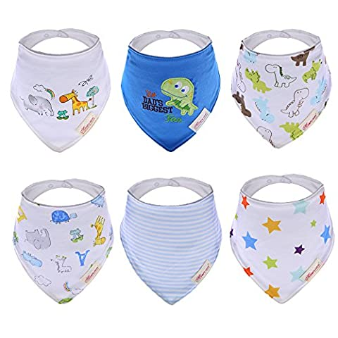 Hxhome 6 PCS Baby Bibs 100% Cotton Bandana Saliva Towel