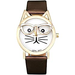 KEERADS Women Analog Quartz Dial Wrist Watch Cute Glasses Cat, Brown