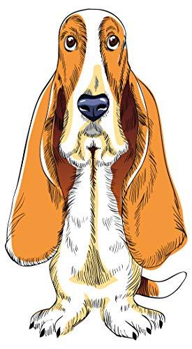 Wandtattoo Hunde Motiv Basset Hound sitzend Haustiere Deko Tiere -