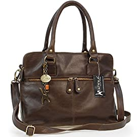 Catwalk Collection Handbags – Women's Large Vintage Leather Tote – Shoulder Bag/Cross Body With Extra Detachable Adjustable Strap – VICTORIA