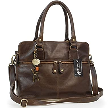 Catwalk Collection Handbags – Women's Large Vintage Leather Tote – Shoulder Bag/Cross Body With Extra Detachable…