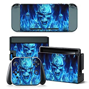 Nintendo Switch Skin Design Foils Aufkleber Schutzfolie Set – Blue Skull Motiv