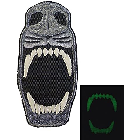 Glow Dark GITD K9 Dog Teeth Fear the Night Morale Tactical Embroidered Velcro Toppa Patch