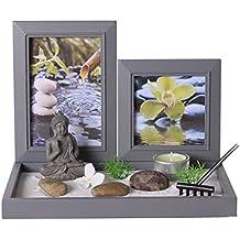 Conjunto de Jardín ZEN con Buda sobre una bandeja con marcos de fotos, soporte para velita, arena blanca, piedras, un rastrillo, etc.