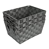 EHC Set of 3 Woven Strap Storage Hamper Shelf Basket, Grey