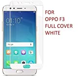Oppo F3 Full Coverage Tempered Glass, [Color Glass] [Edge to Edge Crash Protection] Curved [Scratch Proof] [Bubble Free] Tempered Glass Screen Protector for Oppo F3 - White