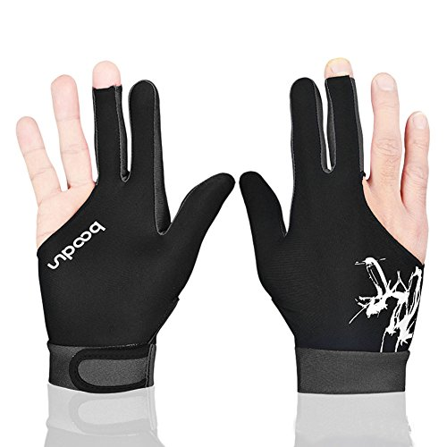 Unisex 3Finger Billard Handschuhe Billard Handschuhe rechts oder links Hand 1PCS Größe L schwarz