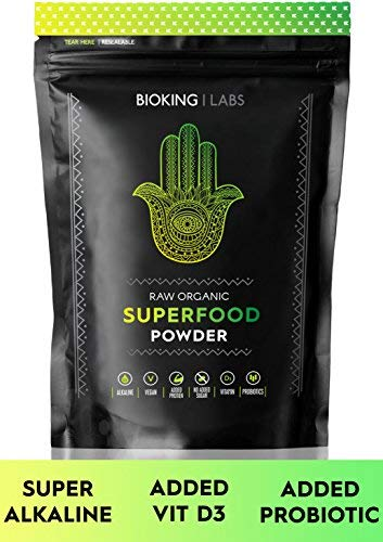 BIO SUPER GREENS PULVER 250g von BioKing Labs | Premium Supergreen Blend | Unsere All Natural Alkaline, Vegan freundlich, Superfood Pulver ist mit Protein, Vitaminen, Probiotika und Antioxidantien
