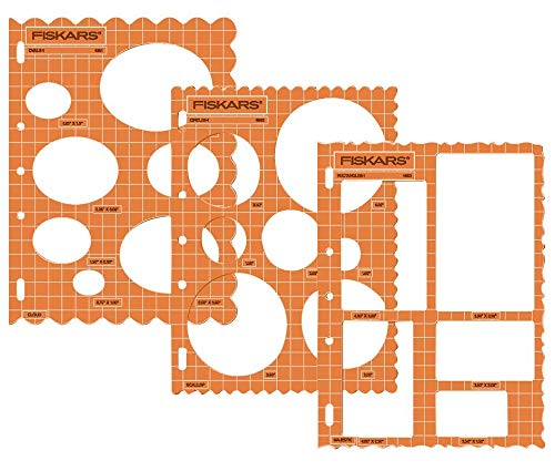 Fiskars 3er-Set Schablonen, Formen oder Buchstaben & Zahlen, ca. 28 x 21,5 cm Formen