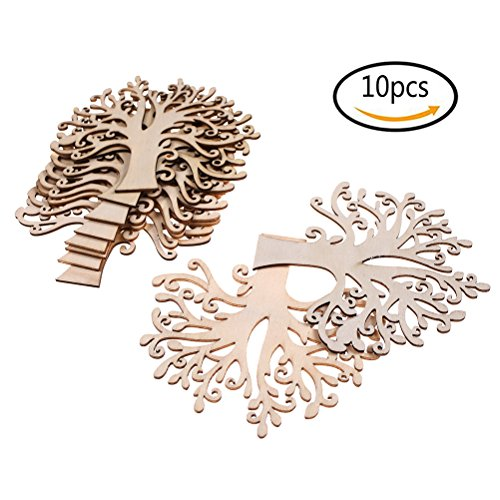 BESTIM INCUK 10 Pack Blank Wooden Tree Cutout Embellishments for DIY Craft Supplies Wedding Christmas Ornaments