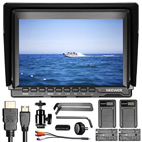 Neewer NW74K 7' Monitor ad Ultra Alta Definizione 4K Monitor IPS da 1280x800 per Fotocamera + 2 Batterie di Ricambio F550 + 2 Caricabatterie a USB per Fotocamere Sony Canon Nikon Olympus Pentax Panasonic