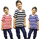 Search : Islander Fashions Unisex Red and White Striped Cotton T Shirt Ladies Short Sleeve Fancy Top 5-12 Years