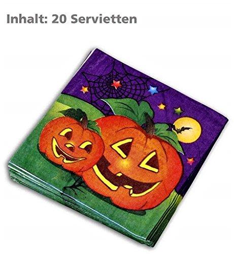 (KarnevalsTeufel Halloween-Servietten (20 Stk.), Tischdekoration, Halloween Gedeck)