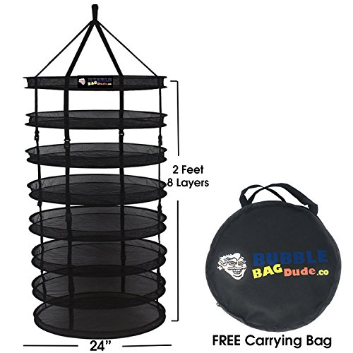 Net Systems Inc (Bubblebagdude Herbs Drying Rack 2 FT 8 Layer Mesh Hydroponics Hanging Dry Net Foldable with Carrying Bag - Ideal Accessories for Drying Plants & Herbs - Easy to Use and No Assembly Required)