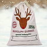 Grande hotte de Père Noël en toile de jute vintage pour décoration ou emballage cadeau