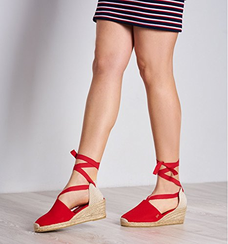 VISCATA Escala 2.5 Heel, Soft Ankle-Tie, Closed Toe, Classic Espadrilles Heel Made in Spain Rouge