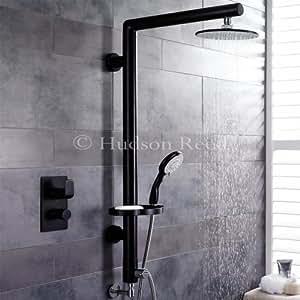 BDL1003 - Ensemble colonne de douche - douchette et mélangeur mitigeur thermostatique à encastrer le tout en noir. Colonne de 1147mm.