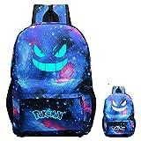 Pokemon cool-Bag Zaino luminoso, zaino per laptop Borsa da viaggio per computer per ragazzi Ragazzi per bambini, College School Leggero zainetto leggero per lo spazio grande Anti-Dirt (sky-blue)