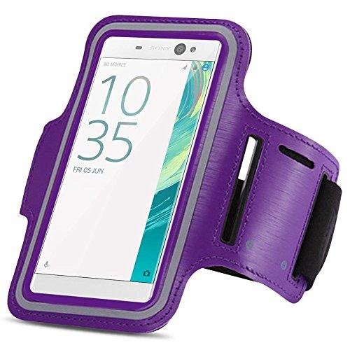 Sony Xperia XA Ultra Jogging Handy Tasche Hülle Fitnesstasche Sportarmband Lauf, Farben:Lila (Sony Lila Mp3-player)