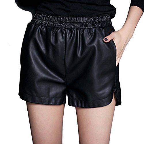 Yming Frauen PU-Leder-elastische Taillen-lose Shorts (Denim Leder-shorts)