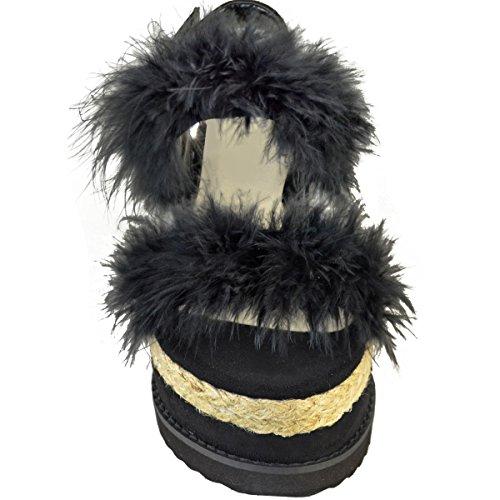 Espadrilles compensées - plateforme plate - fausse fourrure - été - femme Faux suède noir/fausse fourrure