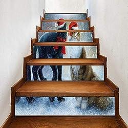 WYHK Gato de navidad autoadhesivas Pegatinas de escalera de vinilo extraíbles 18cm×100cm×6 piezas