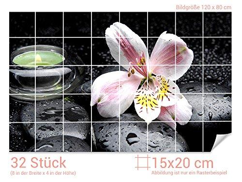 Graz Design 761354_15x20_80 Fliesenaufkleber Steine und Lilie   Bad-Fliesen mit Fliesenbildern überkleben (Fliesenmaß: 15x20cm (BxH)//Bild: 120x80cm (BxH))