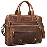 STILORD 'Leander' Sac d'affaires Grand en cuir / Besace pour ordinateur portables 15.6 pouces en bandoulière Sac d'épaule Unisexe Sac cuir veritable, Couleur:marron moyen